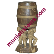 Mettlach Character Barrel Beaker Three men holding up barrel