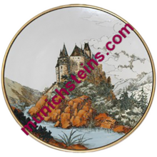 "Mettlach Plate  #1108 Etched 17"" Plaque Castle - V&B Plaque"