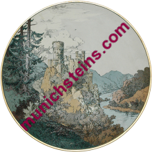 "Mettlach Plate #1365 Etched 17"" - V&B Plaque - Castle"