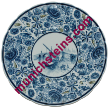 "Mettlach Plate #5136 PUG 15"" - V&B Plaque Harbor floral border"