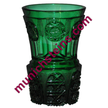 "Blown Glass 6"" Beaker Facet cut emerald green -Russian circa 1850"