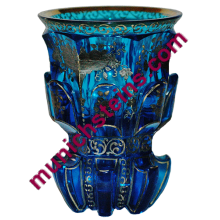 Blown Electric Blue Beaker with platinum enamel : Bohemian circa 1840