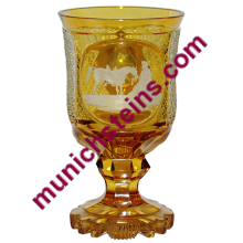 Blown Glass Beaker Amber stained Detailed cut. Bohemian circa 1850