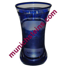Blown Overlay Antique Beaker : Blue over clear cameo cut spa view