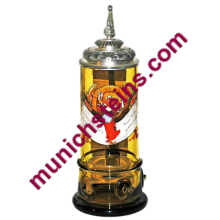 Antique Blown Amber Glass 1L Stein:. Barmaid and verse Circa 1890