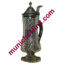 Antique Blown Glass 1/2L. Intricate cut design on pedestal base