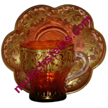 Blown Orange Glass Demitasse Cup & Saucer: Gilded enamel.: Josephinen