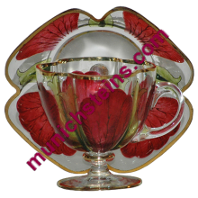 Blown Glass Demitasse Cup & Saucer floral enamel : Theresienthal