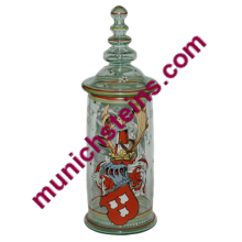 "Blown Glass 12-1/2"" Pokal Large enamel heraldic shield"