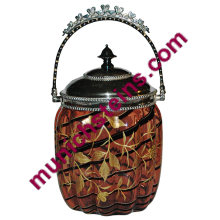 "Blown Glass 8"" Biscuit Jar w/ Metal lid : Gilded floral dogwood scene"