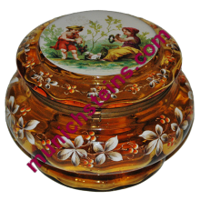 "Blown Amber Glass 4 1/2"" by 6 1/2"" Hinged Box : Bohemian circa 1890"