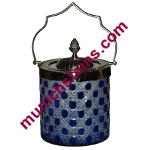 Blown Overlay Biscuit Jar : Cobalt over clear : Silver plated lid