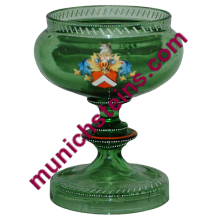 "Blown Green Glass 5 1/2"" Bowl on Pedestal. Enamel shield Egermann"