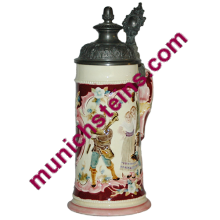 Majolica Ditmar #20370 Relief 1/2L Bagpipe player - Beer Stein