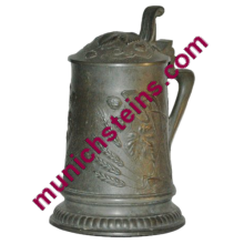 Pewter Beer Stein Relief 1/2L Art Nouveau hops buds and leaf design