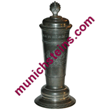 Pewter Santesson 2L Heraldic shield Coin inlay lid - Beer Stein