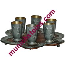 "Pewter and Wood Tray Six matching relief floral 4"" beakers"