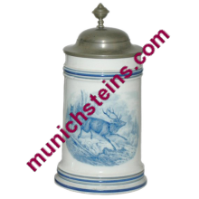 Porcelain Nymphenburg Stein PUG 1L Running stag - German Beer Stein