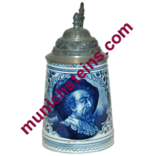Pottery Royal Bonn PUG 1/2L Cavalier and floral in blue coloring