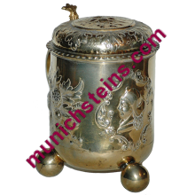 Silver Stein Hand Chased 3/4L Cavalier and floral, Gilded