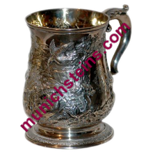 Silver Stein 3/10L Mug: Hand chased birds :Silver marks on base