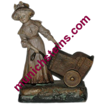 "Antique Terracotta JM 12"" Figure - Girl pulling wagon"