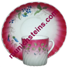 Antique Porcelain Russian Demitasse Cup & Saucer - Floral design